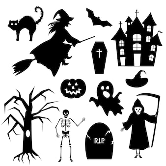 Set of vector silhouettes for halloween party