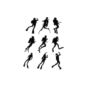 Set of vector silhouettes scuba diving in different poses. diver inspiration vector