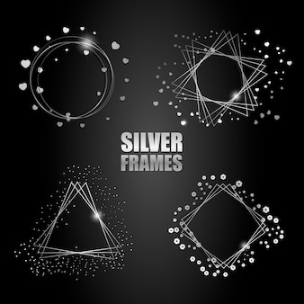 Set of vector silver frames
