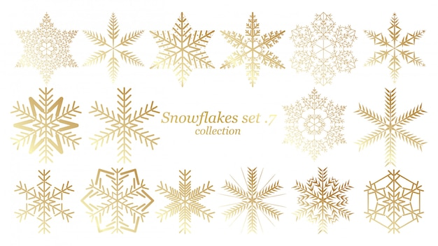 Set of vector snowflakes christmas design with gold color