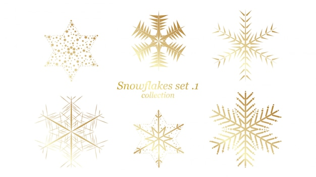 Set of vector snowflakes christmas design