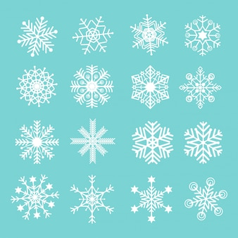 Set of vector snowflakes icon