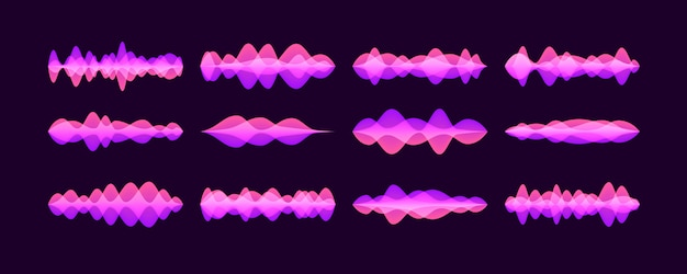 Set of vector sound waves, neon colorful digital music bar.