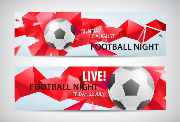 Set of vector sport football banners. faceted colorful background with football ball and text. Premium Vector