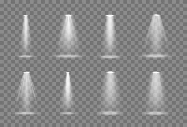 Set of vector spotlight light from a lamp or spotlight