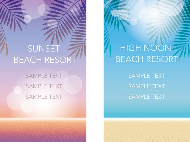 Set of vector summer background illustrations with text space