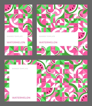 Set of vector templates for banner with watermelon in bauhaus style. seamless repeating pattern with copy space for ad, stories, social media. abstract geometric background. simple shapes, mosaic. Premium Vector