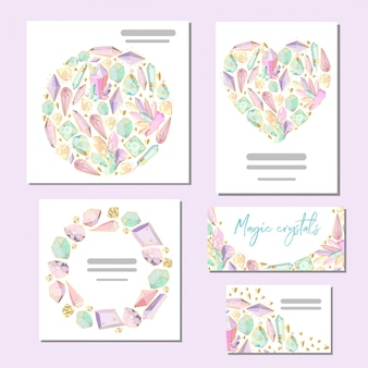 Set of vector templates cards with crystals and gems