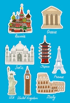 Set of vector travel landmarks stickers