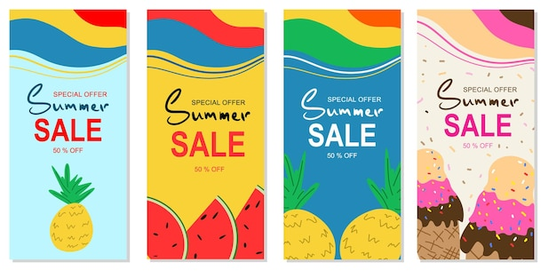 A set of vector vertical illustrations of the summer sale banner for your store, website and social networks. layouts with summer fruits in bright colors.