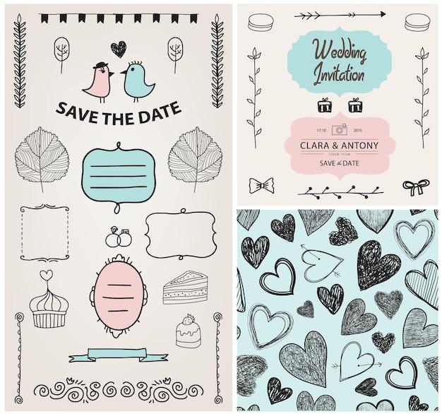 Set of vector vintage, hand drawn wedding invitation design elements