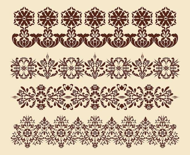 Set of vector vintage patterns for the design of frames menus wedding invitations or labels
