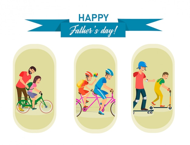 Set vector with inscription happy fathers day.