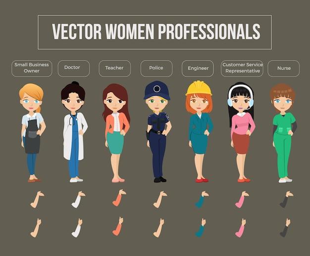 Set of vector women professionals