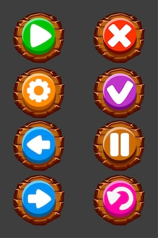 Set of vector wooden buttons for the game. round isolated icons or signs.