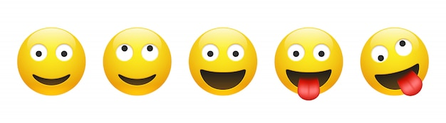 Set of vector yellow smiling, dreaming, insane, crazy emoticon with opened eyes on white