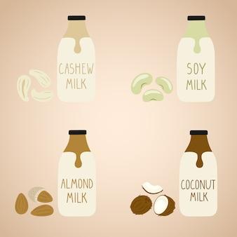 Set of vegan milk in a cartoon bottles.