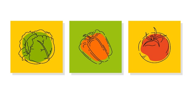 Set of vegetable banners or posters for a farmer market or food fair bright abstract icons