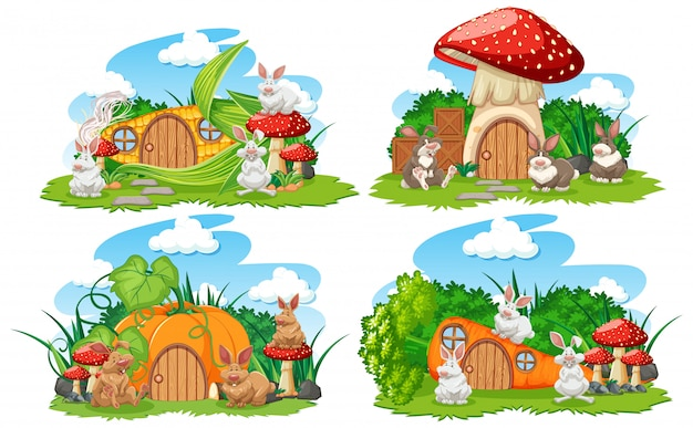 Set of vegetable fantasy houses in the garden with cute animals isolated on white background
