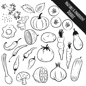 Set of vegetable and ingredient doodle