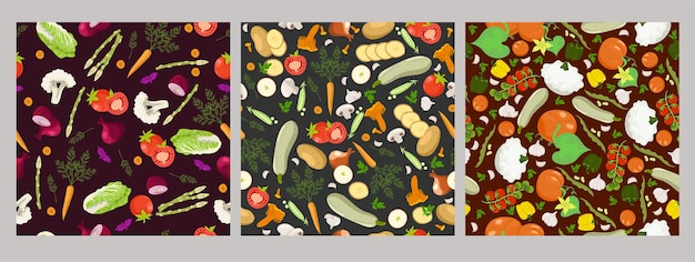 Set of vegetable seamless patterns.