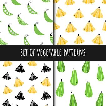 Set of vegetable seamless patterns
