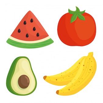 白い背景の上の野菜や果物を設定します。