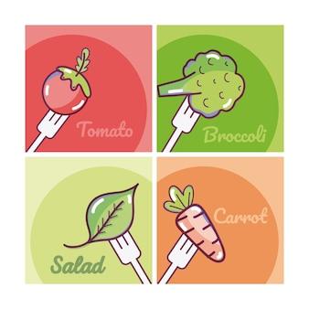 Set of vegetables cartoons