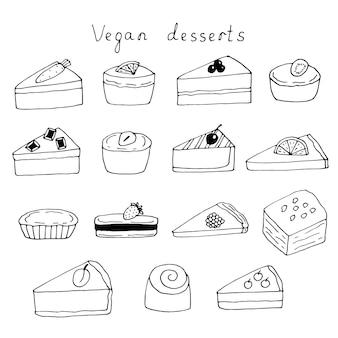 Set of vegetables, fruits and berries vegan desserts, vector doodle illustration, hand drawing