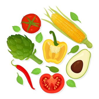 Set of vegetables. grocery collection. tomatoes, artichoke, corn, avocado