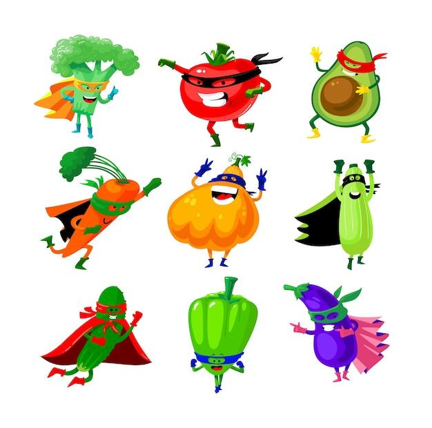Set of vegetables in super hero costume.
