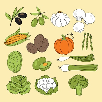 Set of vegetables on yellow