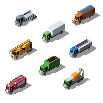 Set di raccolta isometrica del veicolo di trasporto colorato. camion commerciali, edili e di servizio isolati.