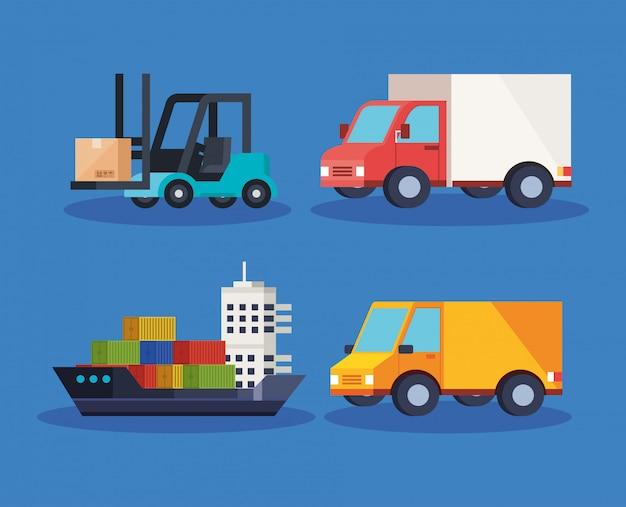Набор транспортных средств доставки логистической службы