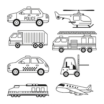 Set of vehicles of public transport and freight and air transport