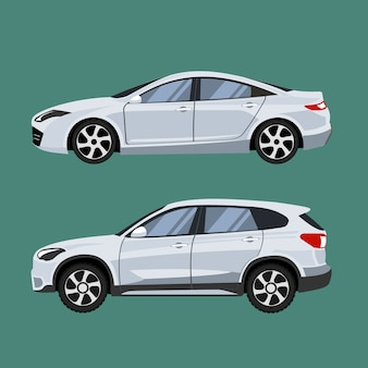 Set of vehicles suv and sedan in side view.