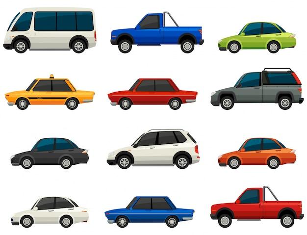 Set di veicoli su uno sfondo bianco