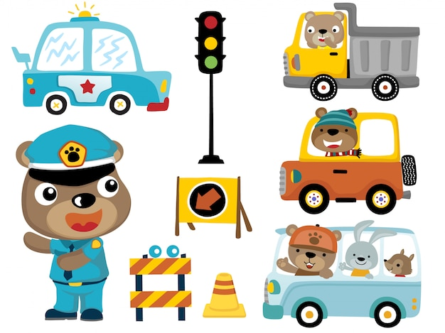 Set of vehicles with funny animals cartoon