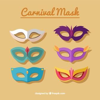 Set of venetian carnival masks