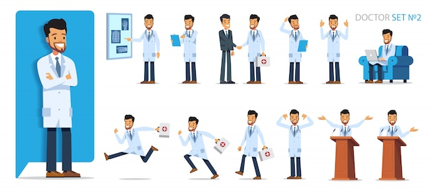 Set version №2 of doctor character in different poses and situations. flat style   illustration isolated  .