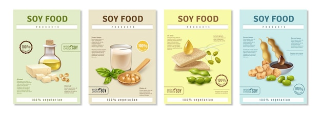 Set of vertical advertising posters with soy food products on colorful  isolated