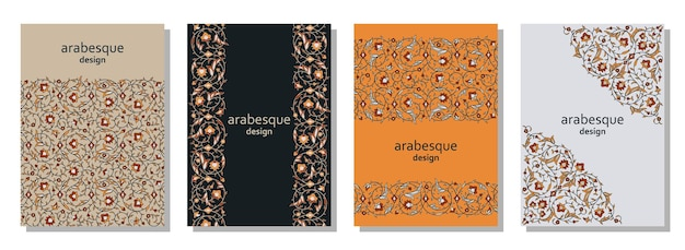 Set of vertical arabesque floral banners branches with flowers leaves and petals