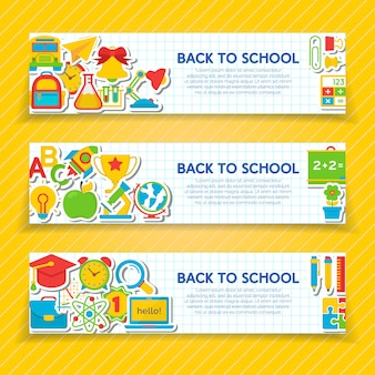 Set of vertical back to school banners template with school supplies isolated. vector illustration