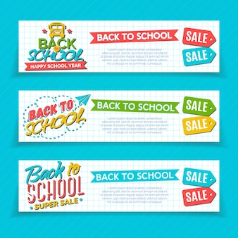 Set of vertical back to school banners