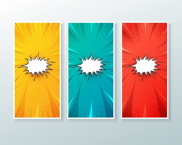 Set of vertical banner background with comic style