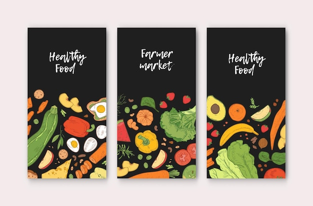 Set of vertical banner templates with healthy food, fresh delicious ripe fruits and vegetables on black background. hand drawn realistic vector illustration for farmers market advertisement, promo.