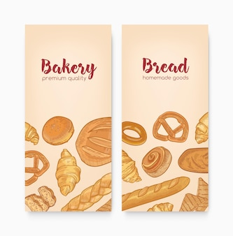 Set of vertical banner templates with tasty breads, sweet delicious pastry or homemade baked products