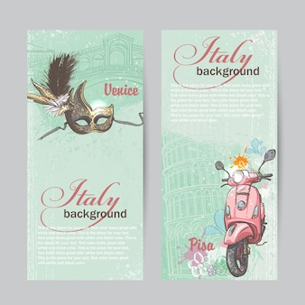 Set of vertical banners of italy. cities of pisa and venice with a mask and a pink moped