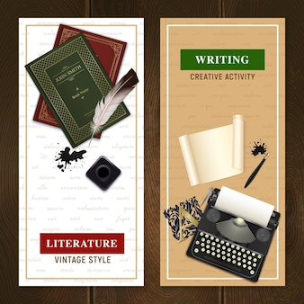 Set of vertical banners realistic vintage literature objects for writing activity and reading isolated