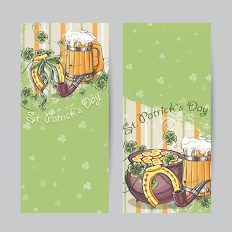Set of vertical banners for st. patricks day with horseshoe and pot of gold
